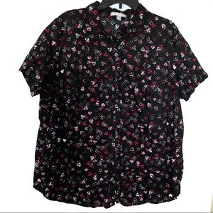 Woman Within Black Heart Shirt Size 18/20 Large
